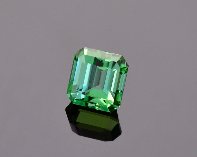Spectacular Green Blue Tourmaline Gemstone from Namibia, 3.97 cts, 8.4 x 8.0 mm, Step Emerald Shape.