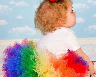 Rainbow Fluffy Little Tutu Baby Toddler Girl Birthday Dress Up