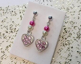 Valentine's Day Girls Heart earrings- sterling silver pink heart earrings-  stainless steel earrings-  leverback earring- titanium niobium