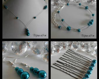 Set of 4 wedding pieces blue Peacock pearls cascade