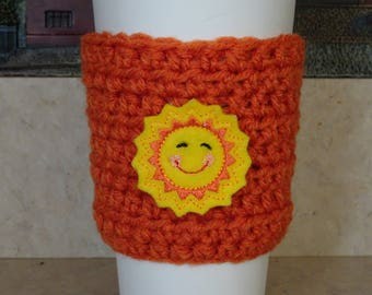 Crochet Cup Sleeve , Orange Crochet Cup Cozy. Cup Cozy, Coffee Cozy, Reusable Cup Sleeve, Coffee Lover Gift, Gifts under 10, Teacher Gift