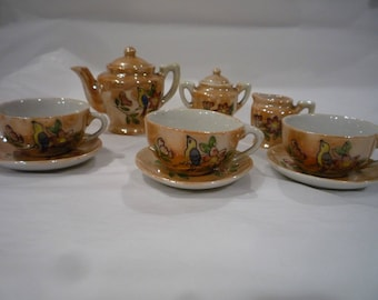 Child's china tea set, Child's play tea set, toy tea set,