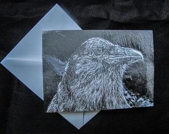 Crow art blank greeting card