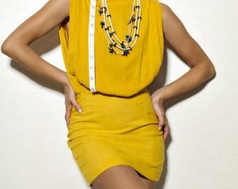 Pretty Birdie's Asymmetrical Mustard Gauze and Hemp Linen Mini Dress