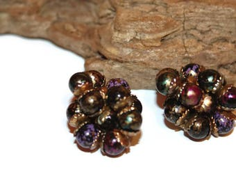 Vintage Cluster Earrings, Beaded Earrings, Beaded Cluster Earrings in German Style, Vintage Earrings, Vintage Clip Ons, Black Gold Teal Pink