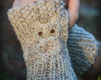Owl Fingerless Gloves, Hand Knit Fingerless Gloves, Boho knits