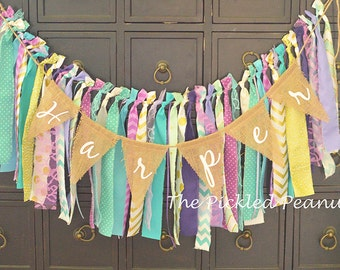 Under the Sea Mermaid Birthday Banner Birthday Bunting Highchair Banner Birthday Party Garland Ribbon Banner Rag Tie Fabric Purple Teal Gold