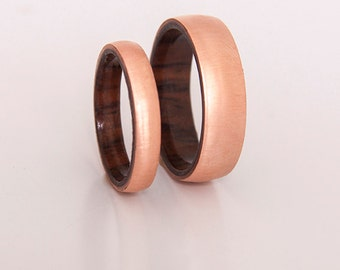Copper wedding ring wood ring set of 2 with Cocobolo Wood Band