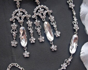 Wedding jewelry set bridal chandelier earrings bracelet set wedding crystal earrings wedding bracelet bridal jewelry set crystal jewelry set