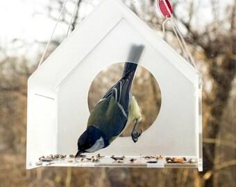Modern Acrylic Bird Feeder, Bird Feeder, Hanging Bird Feeder, Window Bird Feeder, Modern Bird Feeder, House, Bird watching, Bird lover gift,