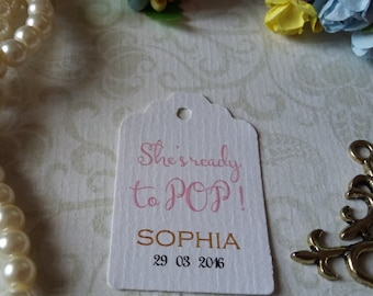 Baby Shower Tags, Pink Baby Shower Favors, Christening Tags, Baptism Tags, Baby Shower Tags, Ready to Pop -Set of 25 to 300 pieces Mini tag