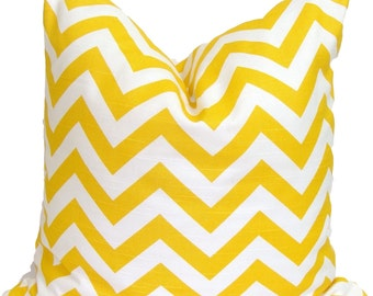 YELLOW PILLOW.18x18.Chevron Decorative Pillow Cover.Decorative Pillow Cover.Housewares.Home Decor.Yellow Pillow.Chevron.cm.ZigZag.Pillow