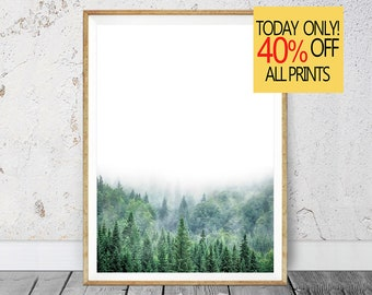 Large Green Forest, Green Forest Print, Modern Forest, Green Woodland, Landscape Nature, Large Green Artwork, Minimalist Forest, Printable