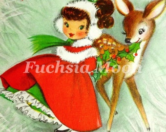 DIGITAL DOWNLOAD Beautiful Vintage Mid Century Modern Chritmas Doe Deer With Girl Image