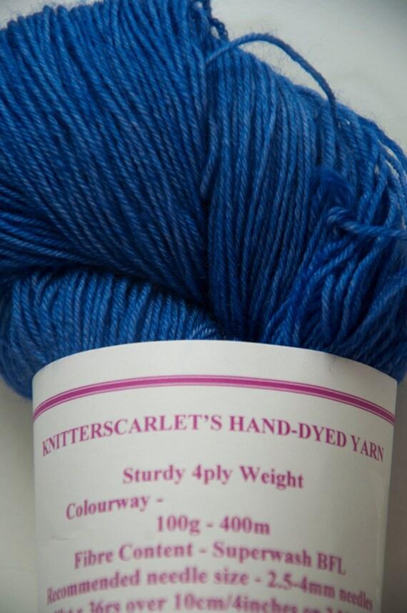 Hand-Dyed Yarn in Deep Ocean Colourway 4ply Superwash BFL Sturdy Base