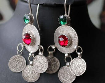 Reserved for Alexandra, please not buy. Old Moroccan Berber Ethnic Earrings with Coins
