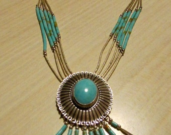 Sterling Liquid Silver Concho Necklace with Faux Turquoise