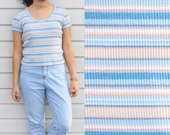 Blue Stripe Knitted Cropped Boat Neck Top
