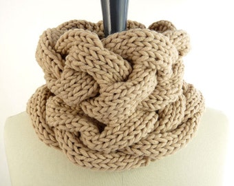 PDF Knitting PATTERN / Printable Knitting INSTRUCTIONS to Hand Knit a Cable Snood / Small Infinity Scarf / Neck Warmer. Instant Download.