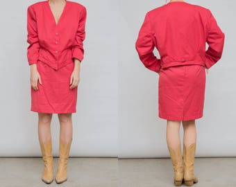 90s Vintage Large Size Skirt Suit / Jacket and Mini Skirt Medium Suit / Pale Red Jacket and Skirt