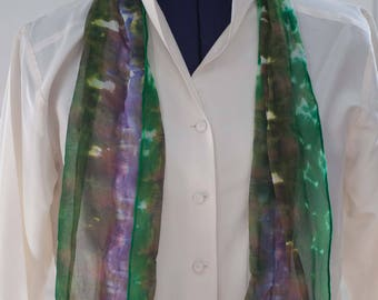 Silk Shibori Scarf - Hand Dyed Silk Scarf - Purple and Green - Gift for Her