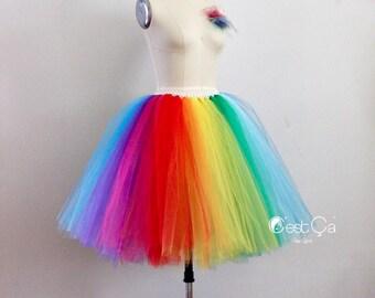 Rainbow Midi Tulle Skirt, Aletrnative Wedding Skirt, LGBT Skirt, Plus Size Tulle Skirt, Puffy Tulle Skirt, Bridal Tulle Skirt, Wholesale