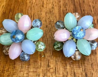 Vintage 1950's Atomic West German Pastel Lucite & Glass Pastel Beads , Clip On Earrings. Mid Century