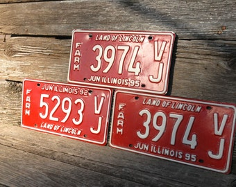 Illinois License Plates, The Land of Lincoln, Red Farm License, set of three