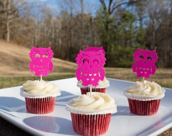 Pink Owl Cupcake Toppers (12ct), Owl Food Toppers, Owl Food Picks, Baby Shower, Girl Baby Shower, Owl Themed Birthday Party