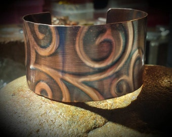Copper Etched Cuff Bracelet~ Artisdan Jewelry