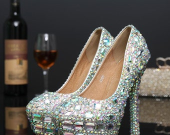 2018  European New  Hot Look   Crystal  Rhinestone  Prom,  Wedding,   Bridal, Nightclub  Party Shoe, Comes in difference  Size  Heels