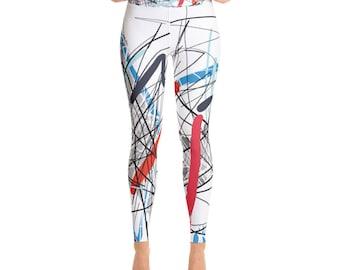 SGRIB Print Women's Fashion Yoga Leggings - xs-xl sizes - design number one - on white