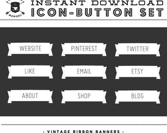 INSTANT DOWNLOAD - Set of 9 White Vintage Banner Social Buttons/Icons - Social Media Buttons - Social Icon Set - Social Media Button Set