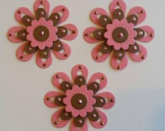 Flower Scrapbooking Embellishments Set of 3, Card Making, Scrapbooking, Tags, Flower Die Cuts, 3 Dimensional