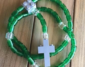 Rosary made of Lego Bricks - Translucent Green, Clear & Light Gray Catholic Rosary
