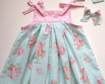 Ready to Ship, Girls Dress, Size 2, Shoulder Tie Dress, Pink & Aqua Roses, RTS, Monogram Option