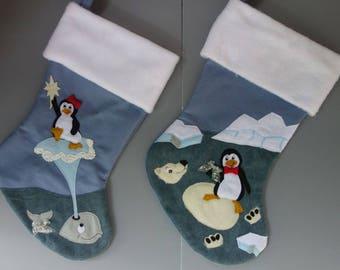 "Penguin Family Set Christmas Stockings--""Antarctic Friends I"""