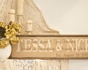 PRiMiTivE Wedding Sign - Two Lives, Two Hearts....   Personalized with First Names and Wedding Date