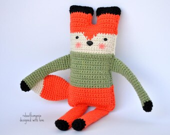 FOX Crochet PATTERN (pdf file) – FOX Amigurumi Rag Doll Crochet Tutorial (Instant download)