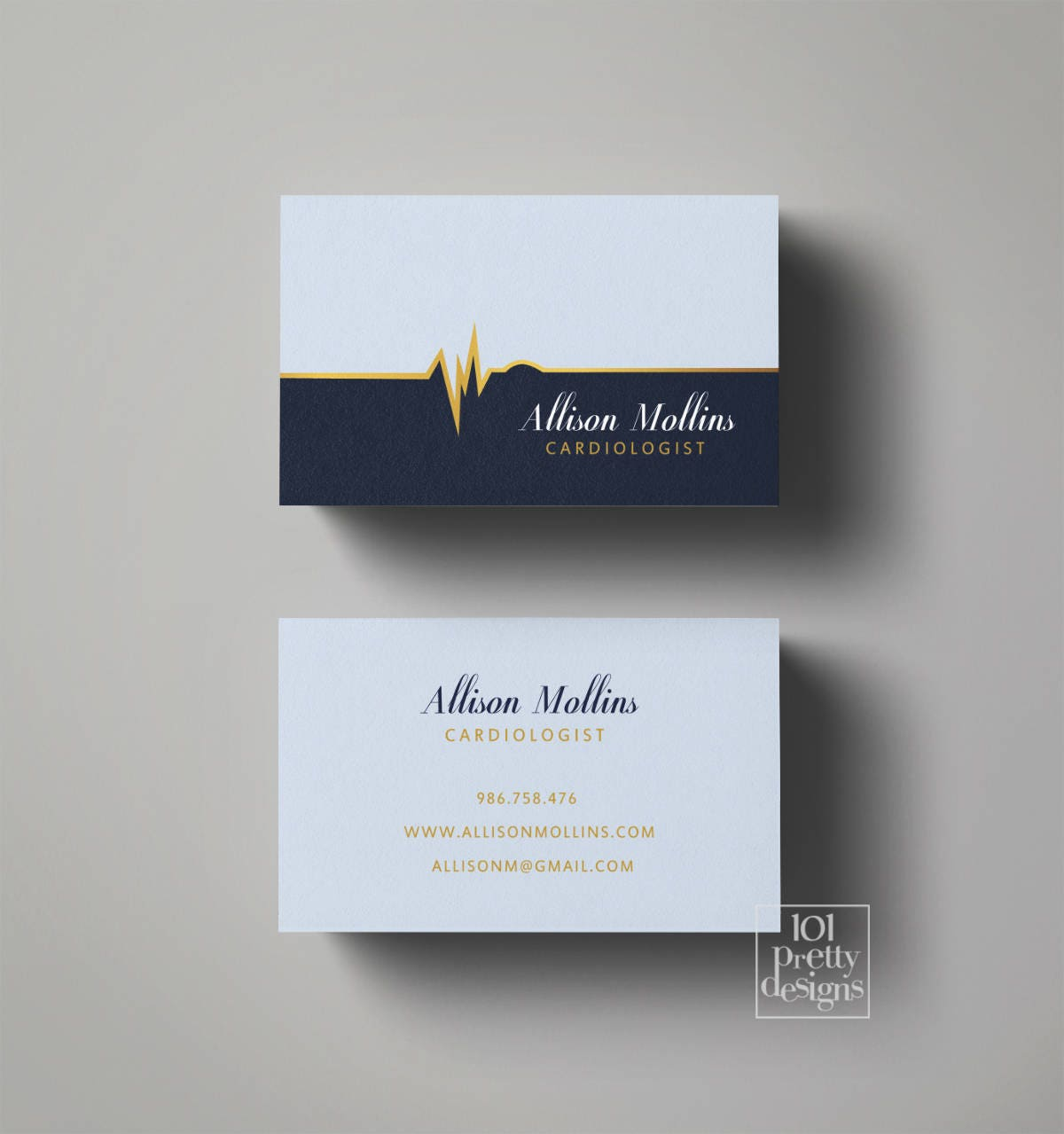 Doctor business card design medic business card blue gold