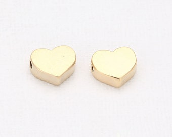 Heart Beads Matte Gold-Plated - 4 Pieces [B0006-MG]
