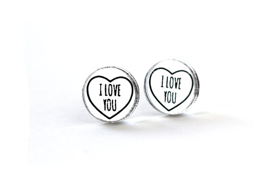 Valentine's studs with message I love you - romantic graphic earrings - lasercut acrylic mirror - hypoallergenic surgical steel posts