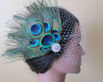 PEACOCK Veil, Peacock Wedding Hair Flower Fascinator, Bridal Bandeau Veil, Bride's Peacock Feather Hair Piece, Head Piece, Vintage Bride