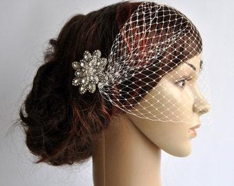 Bandeau Veil with rhinestone comb Birdcage Veil, Wedding Veil, Bridal Veil, Russian Veil, Bird Cage Veil with rhinestone comb, bridal comb