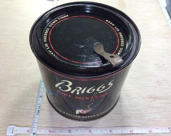 Vintage Old Briggs Pipe Tobacco Tin 7oz Used