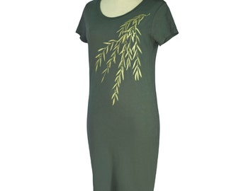 Asphalt Grey, Japanese, Willow, Screen Printed, Bamboo T-Shirt Dress, Organic, Eco-Friendly, Hand Printed, Women, Gifts for Her, Made in USA