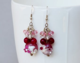 Pink Ladies Lampwork, Crystal and Sterling Earrings - Lampwork Earrings - Pink Earrings - Happy Shack Designs
