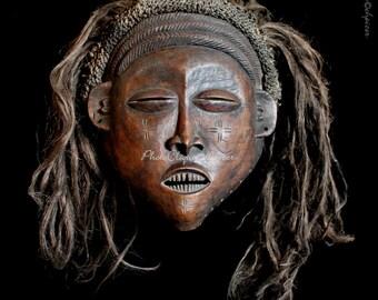 Ethnographic Art Image Series / Portrait of Luchazi Pwo-Pwevo Mask (#1) / Tribal Art–African Art / High Res Print/ Fine Art Photography