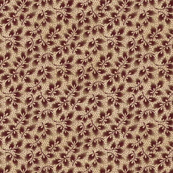 Leaf Sprigs In Deep Red On Cream, Spirit Of America Collection, Stacy West, Buttermilk Basin, Patriotic Primitive Fabric by the Yard 8861 48
