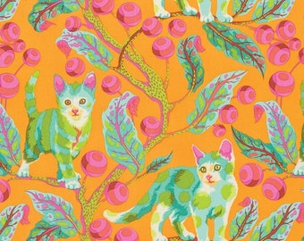 Tula Pink, Tabby Road, Disco Kitty in Marmalade Skies, Cat Fabric, Large Scale, Orange Fabric, Leaf Fabric, Novelty Fabric,  PWTP092.MARMA